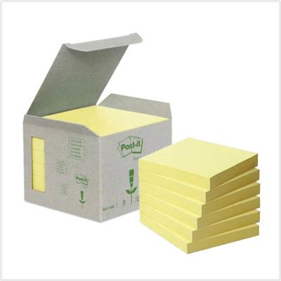 Notes POST-IT 100% recyclé 76 x 76 mm - Jaune - Le lot de 6 blocs