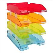 Le set de 4 bannettes à courrier Exacompta transparent Arlequin - Coloris assortis